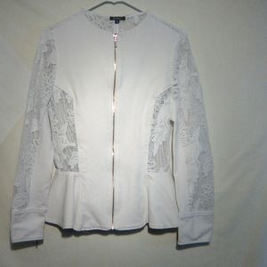 XOXO white lace delicate LS jacket.  XL. #722